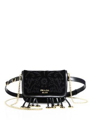 53521e489573 PRADA Floral-Embroidered Velvet Belt Bag.  prada  bags  leather  belt bags   velvet  lining