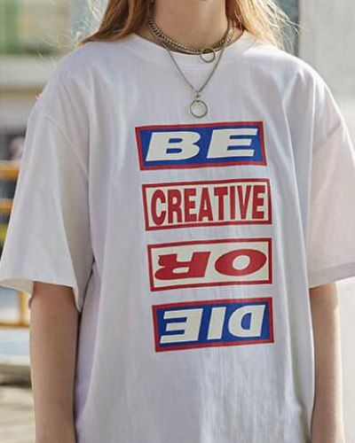 5accf303dc85 Be Creative Or Die t shirt hip hop letter short sleeve tee for teens ...