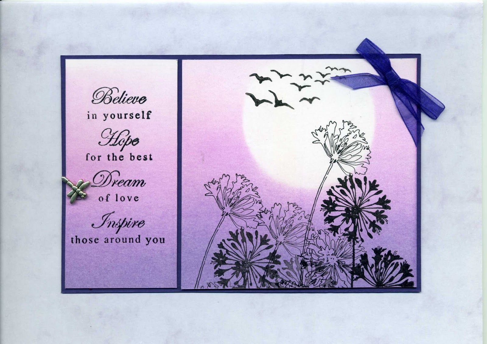 Brayered background, Stampendous Agapanthus Cluster, panels Handmade cards, Rubber Stamping
