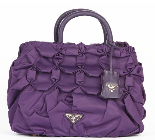 Prada Pleated Nylon Tessuto Handbag Purple Bn1701