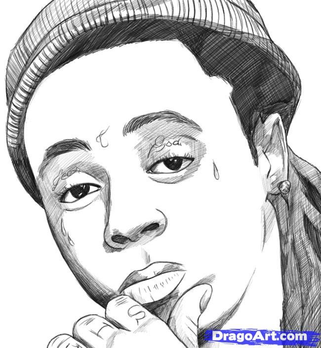 Character Drawings Of Famous People How To Draw Lil Wayne Step 8 Rapper  Art, Hip Hop Artwork, Drawings