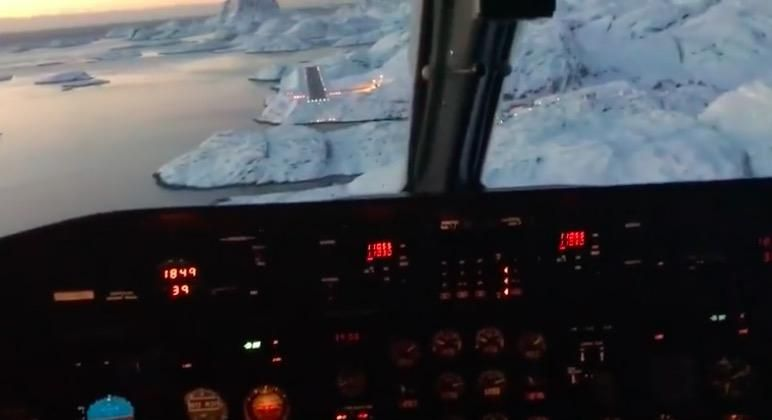 This Cockpit View Of A Plane Landing In Maniitsoq Greenland Is