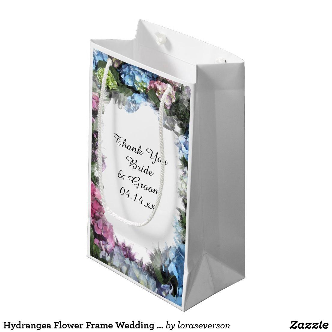 Hydrangea Flower Frame Wedding Thank You Small Gift Bag | Wedding ...