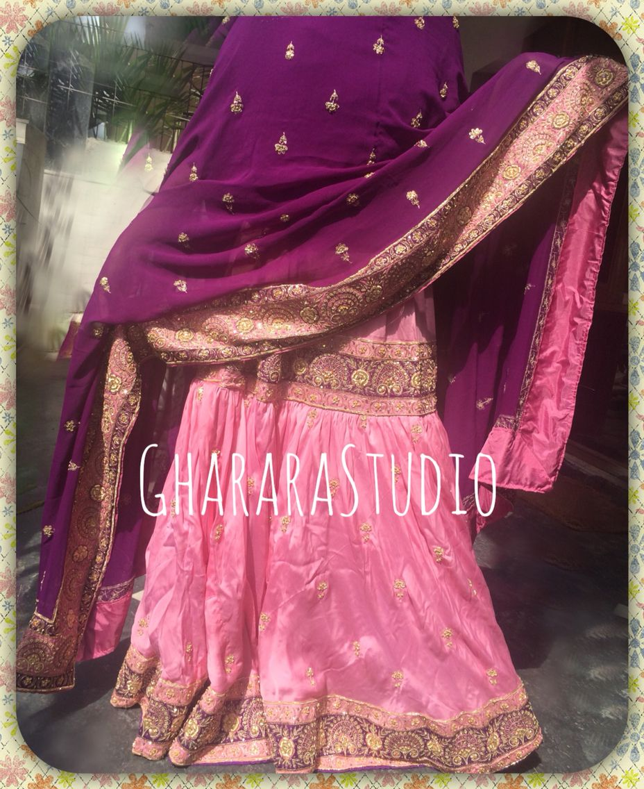62049422f2 Pink & Purple silk Gharara with complete handwork all over. Single Ghera.  Whatsapp or mail to order or enquire. #gharara #GhararaStudio  #ghararadesign ...