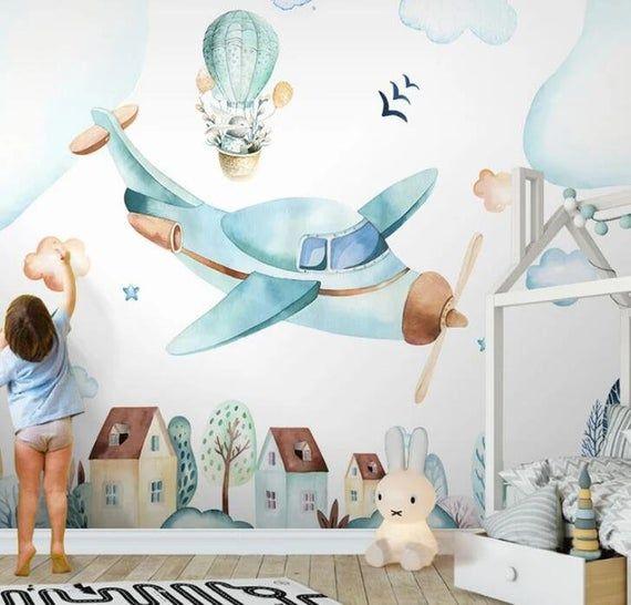3D Kinder, Aquarell, Flugzeuge Tapete Kinderzimmer Tapete abnehmbarer Wallpaper- Wandverkleidung Wandbild, Spielzimmer Tapete Wand-Dekor #salledejeuxenfant
