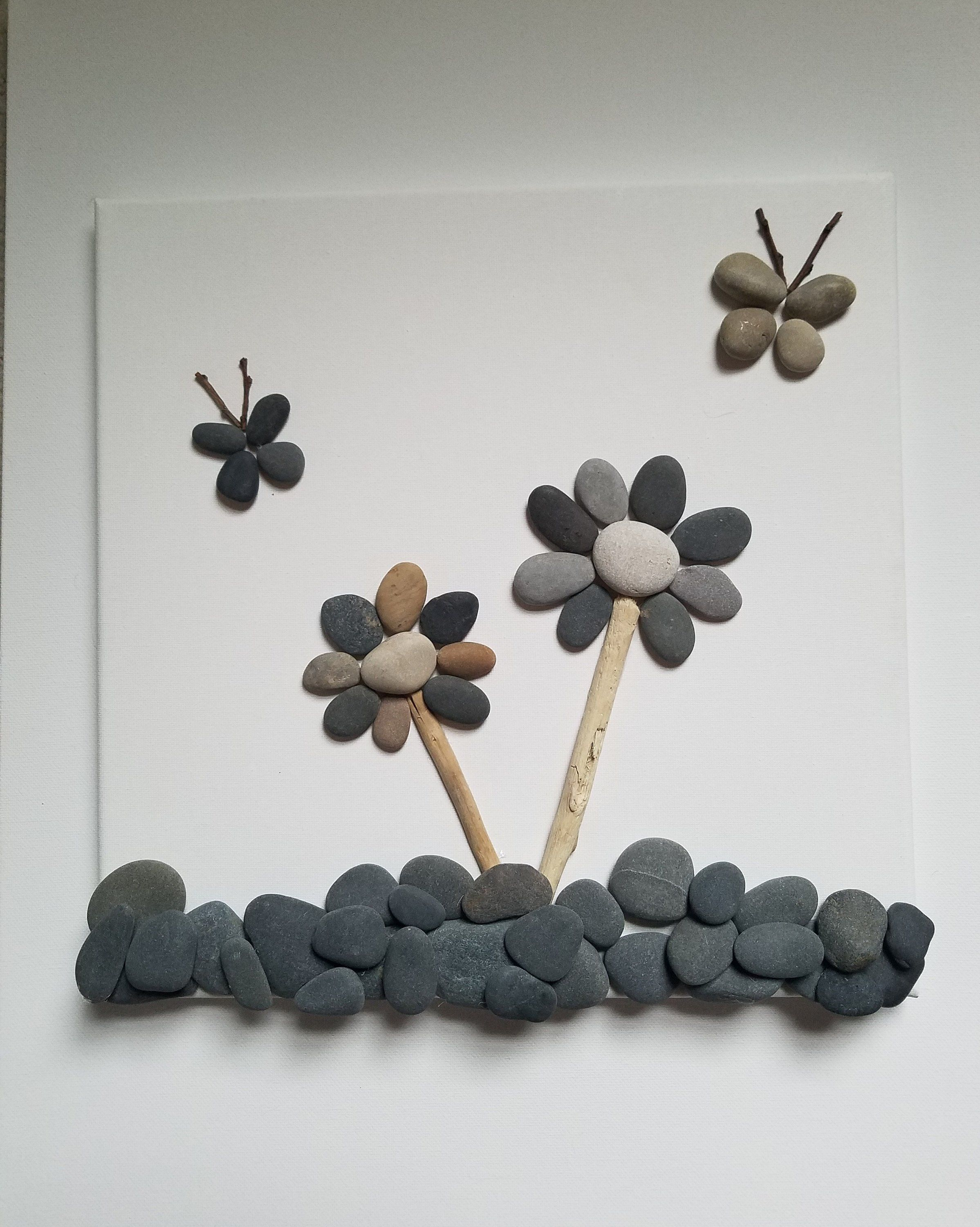 Butterflies And Flowers Pebble Art Home Decor Pebble Art Stone Pictures Pebble Art Stone Crafts