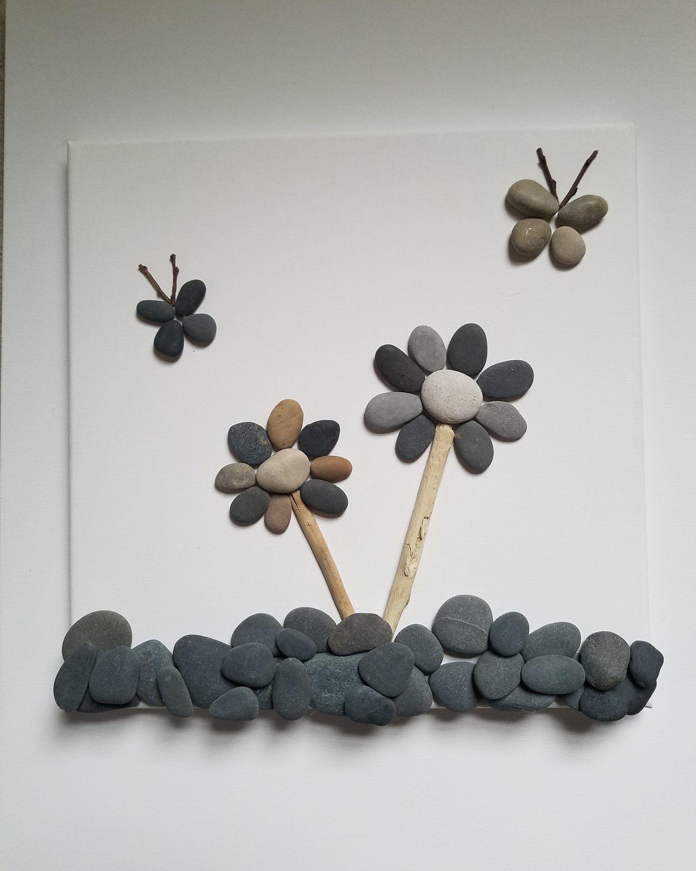 Butterflies And Flowers Pebble Art Home Decor Pebble Art Stone Pictures Pebble Art Stone Crafts