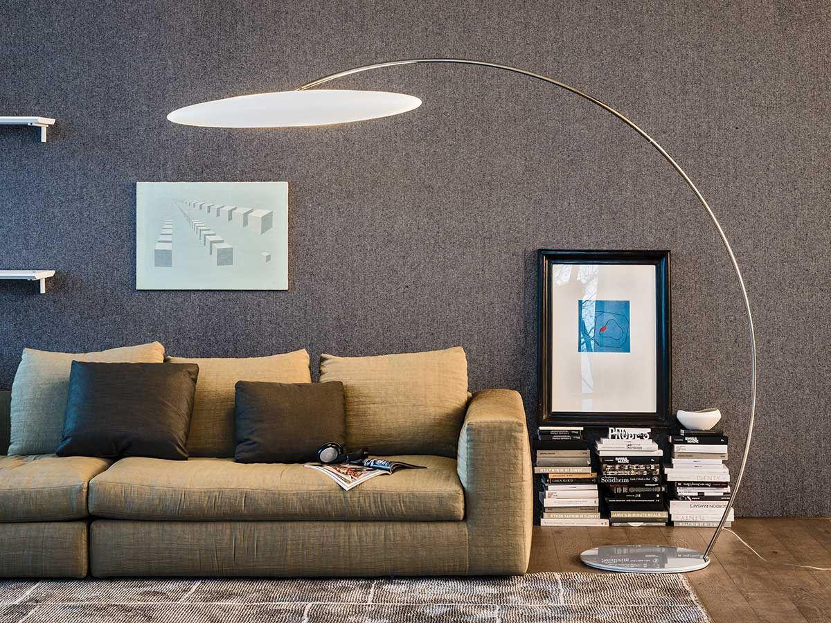 Chrome plated steel floor lamp ASTRA ARC