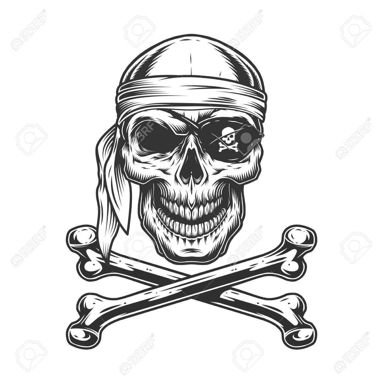 Vintage Monochrome Pirate Skull With Bandana Eye Patch And Crossbones Isolated Vector Illustration Ad Skull Skull Illustration Simple Skull Pirate Skull