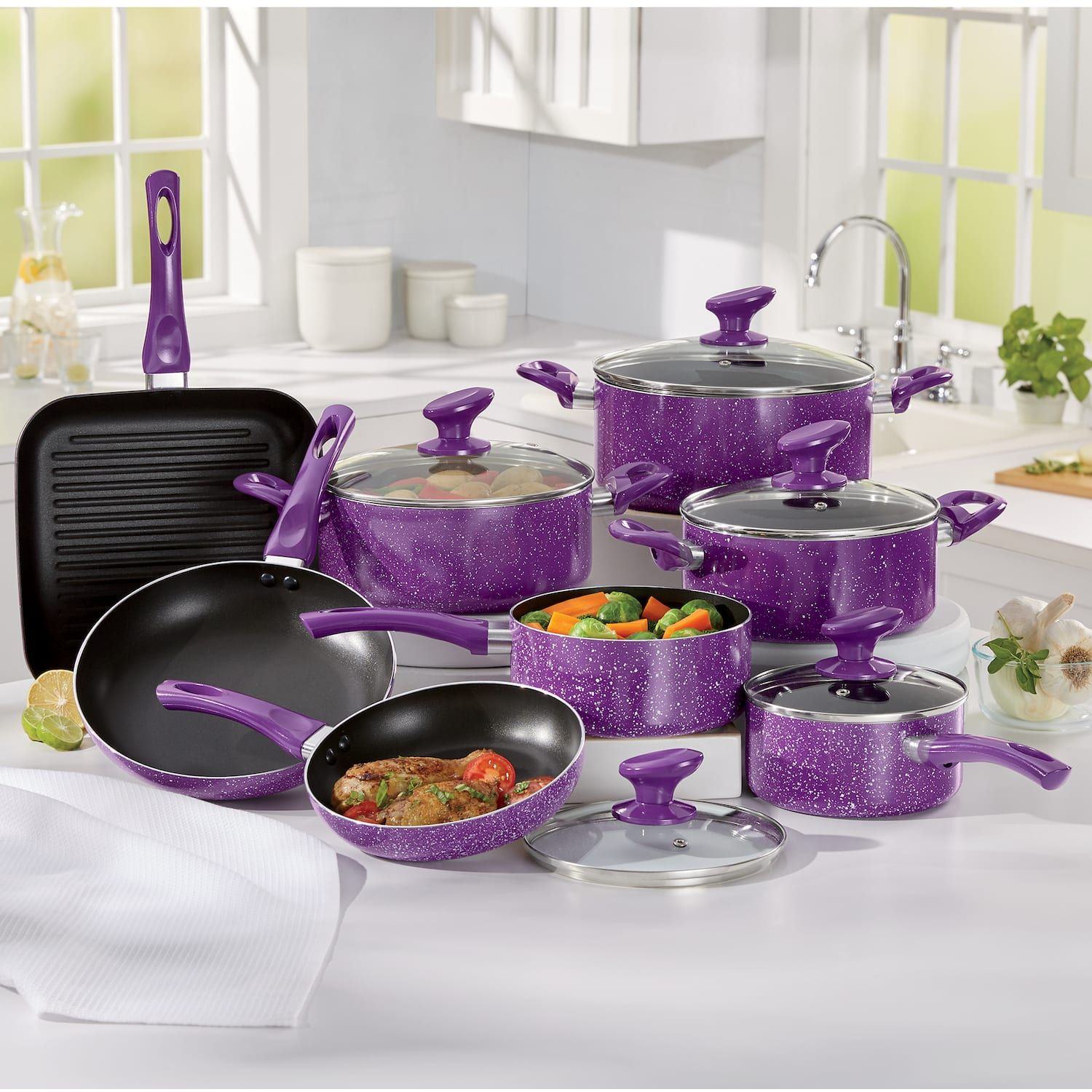 13 Piece Granite Aluminum Cookware Set In 2020 Cookware Set