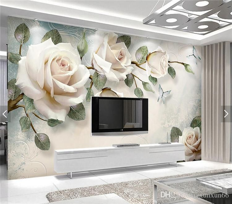 New Fashion Diy Home Decoration Beautiful Mangnolia Flowers Removable Wall Art Decals Viny Wall Prints Living Room Custom Photo Wallpaper Wallpaper Living Room Flower bedroom wallpaper images