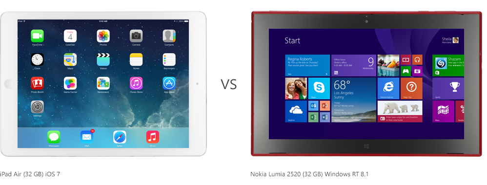 Tablet Comparison: iPad Air v/s Nokia Lumia 2520 See here: http://themobileworld.tumblr.com/post/76716026874/tablet-comparison-ipad-air-v-s-nokia-lumia-2520