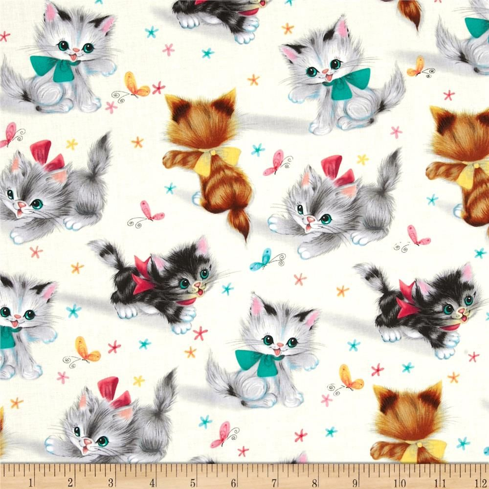 Michael Miller Kitties Cream From Fabricdotcom From Michael Miller This Cotton Print Is Perfect For Quilting Apparel And Home Deco Cat Fabric Kitty Cat Art