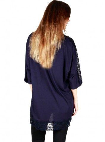 Çiçekli Özel Tasarım Lacivert Bluz