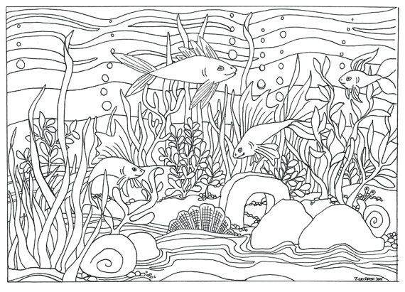 Printable Fish & Aquarium Scene Coloring by TriciaGriffithArts ...