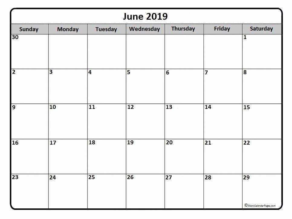 June 2019 Printable Calendar Template Calendar 2019 Printable