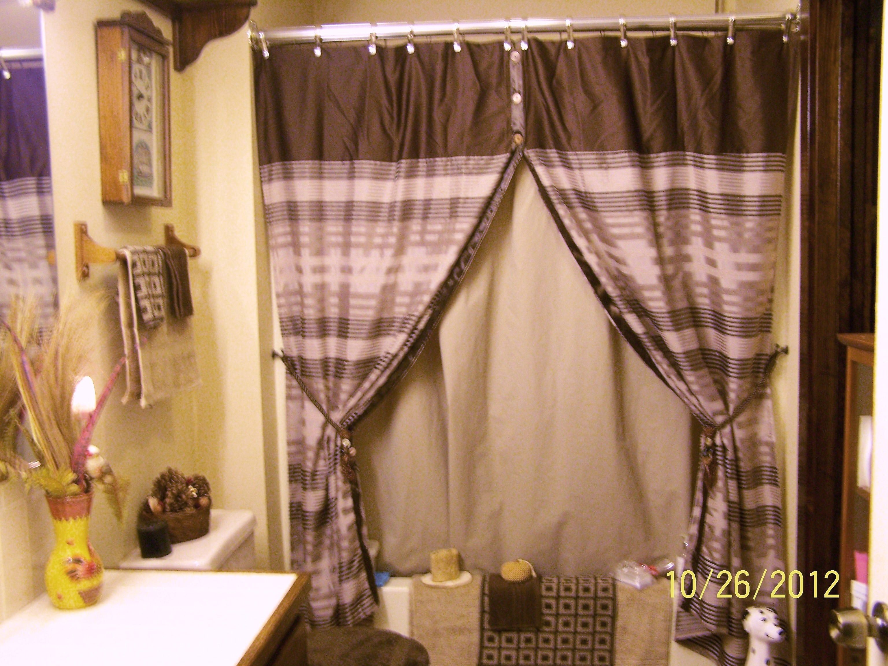 Made Tie Back Shower Curtains From A Single Curtain Used Assorted Large Buttons