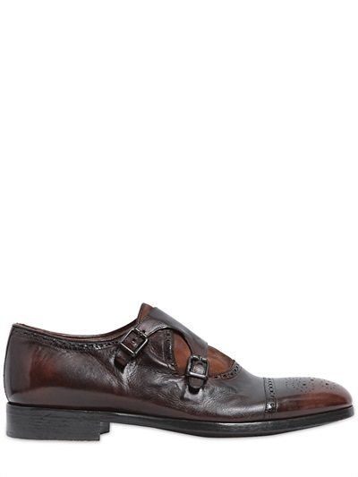 Men's Shoes Washed Leather & Suede Sneakers Brown