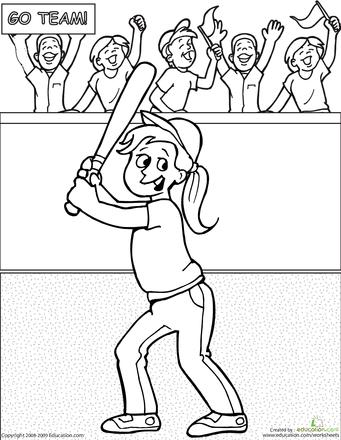 Color the Baseball Girl Baseball girls, Baseball