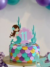 Photo of Mermaid Cake Topper Let's Mermaids Party Mermaid Themed Party Mermaid Tail Cake …