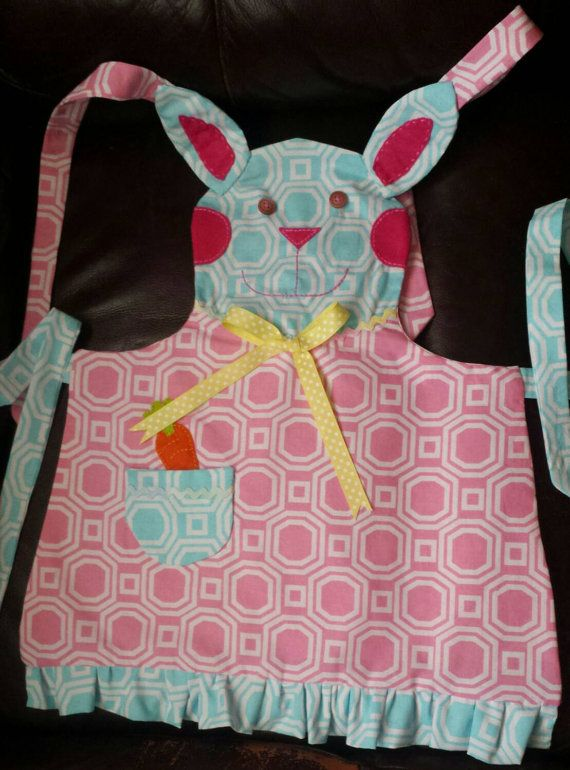 New spring bunny apron available in my shop!  Use the coupon code FREESHIP to get free shipping orders of $25 or more!  https://www.etsy.com/listing/227304537/springtime-bunny-rabbit-apron-childs