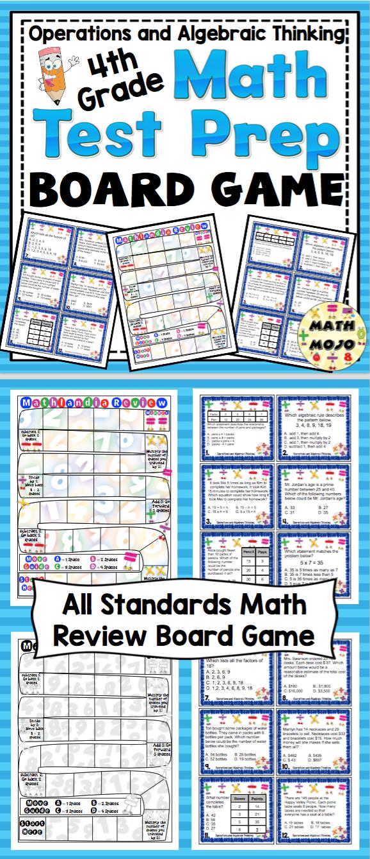 4th Grade Math Test Prep Board Game: Operations and Algebraic ...