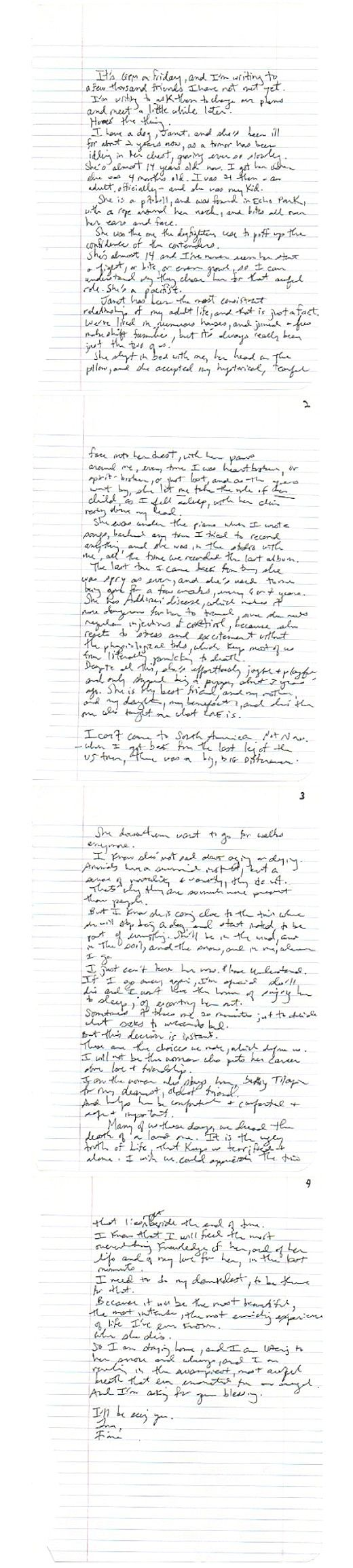 Fiona AppleS Stirring Handwritten Letter About Her Dying Dog
