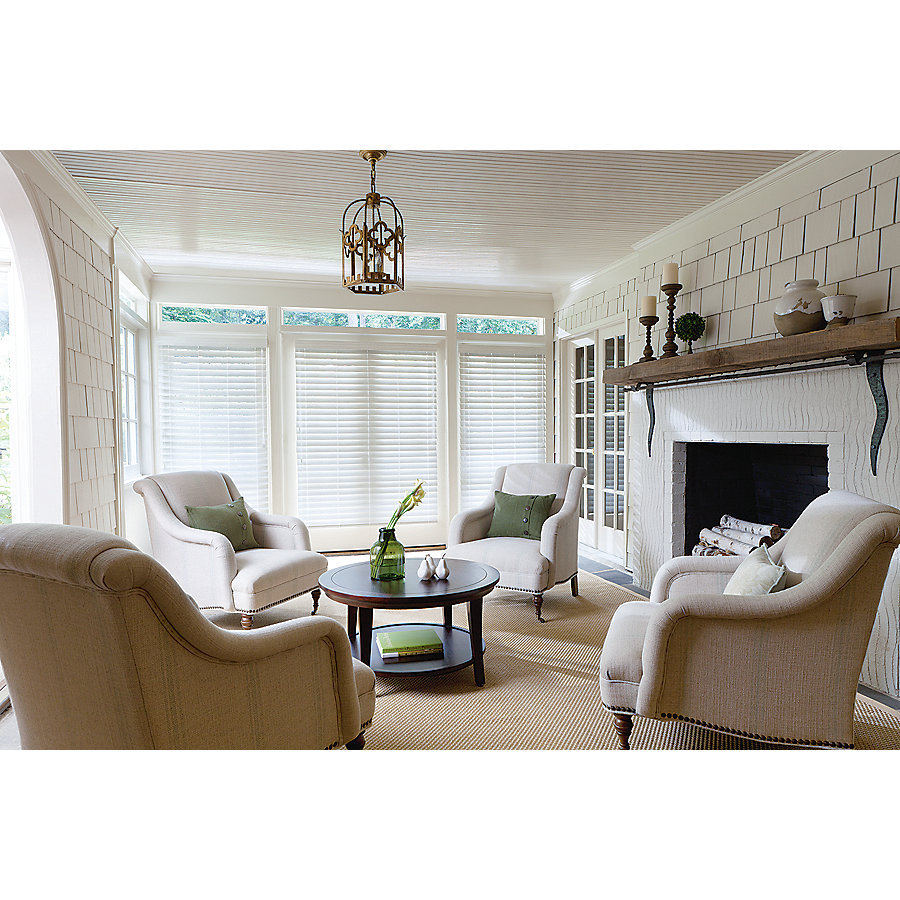 Levolor 2 In Cordless White Faux Wood Blinds Common 35 In Actual 34 5 In X 72 In At Lowes Com White Faux Wood Blinds Faux Wood Blinds Blinds