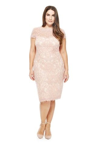 24c3bc03c15 Tadashi Shoji Corded Embroidery on Tulle Cap Sleeve Dress - PLUS SIZE