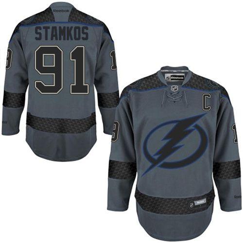 39990267ae0 Reebok Tampa Bay Lightning  91 Men s Steven Stamkos Authentic Charcoal  Cross Check Fashion NHL Jersey