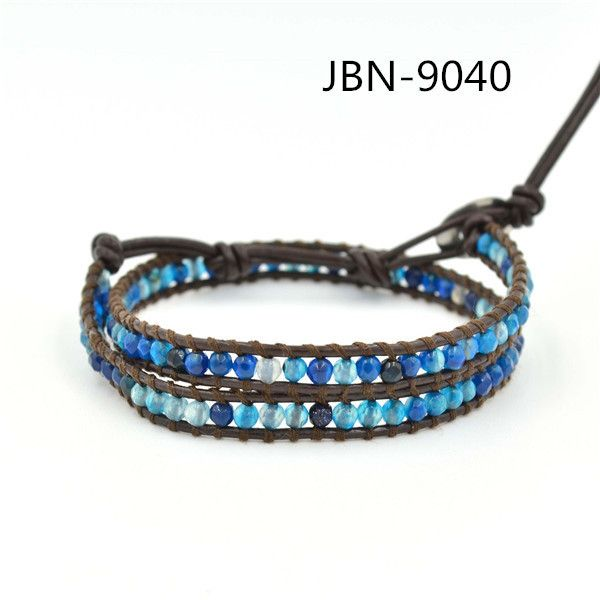 2016 new arrival fashion jewelry Hand-woven blue agate  wrapped bracelet men and women lady unisex gift JBN-1582