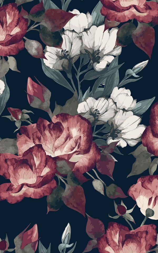 Tiefrote dunkle Blumen Tapete,  #Blumen #DÉCORATIONDELAMAISON #dunkle #Tapete #Tiefrote