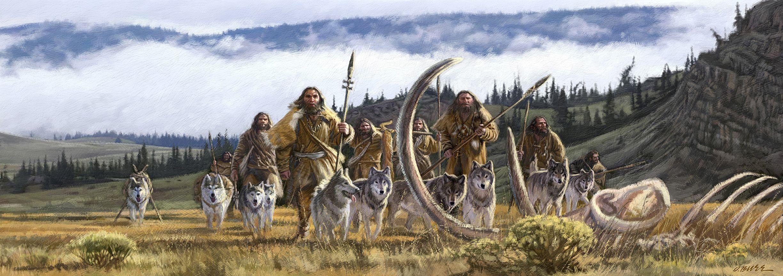 Man and Dog painting 1.jpg   Prehistory (Paleolithic ...