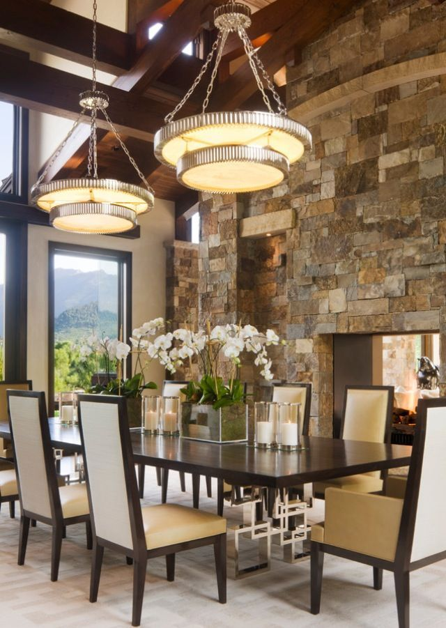 Beautiful Gorgeous Stone Wall Dining Room With Rectangle Table And Double Ligjt  Fixtures · Decor IdeasDecorating IdeasInterior ...