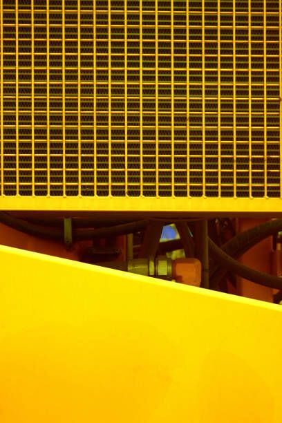 construction technical engine grid line on yellow background