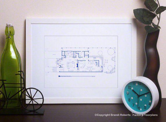 Full House TV Show Blueprint Floor Plan for TV Home of Danny Tanner 1st Floor Jesse Michelle Tanner DJ Tanner Hand Drawn Art