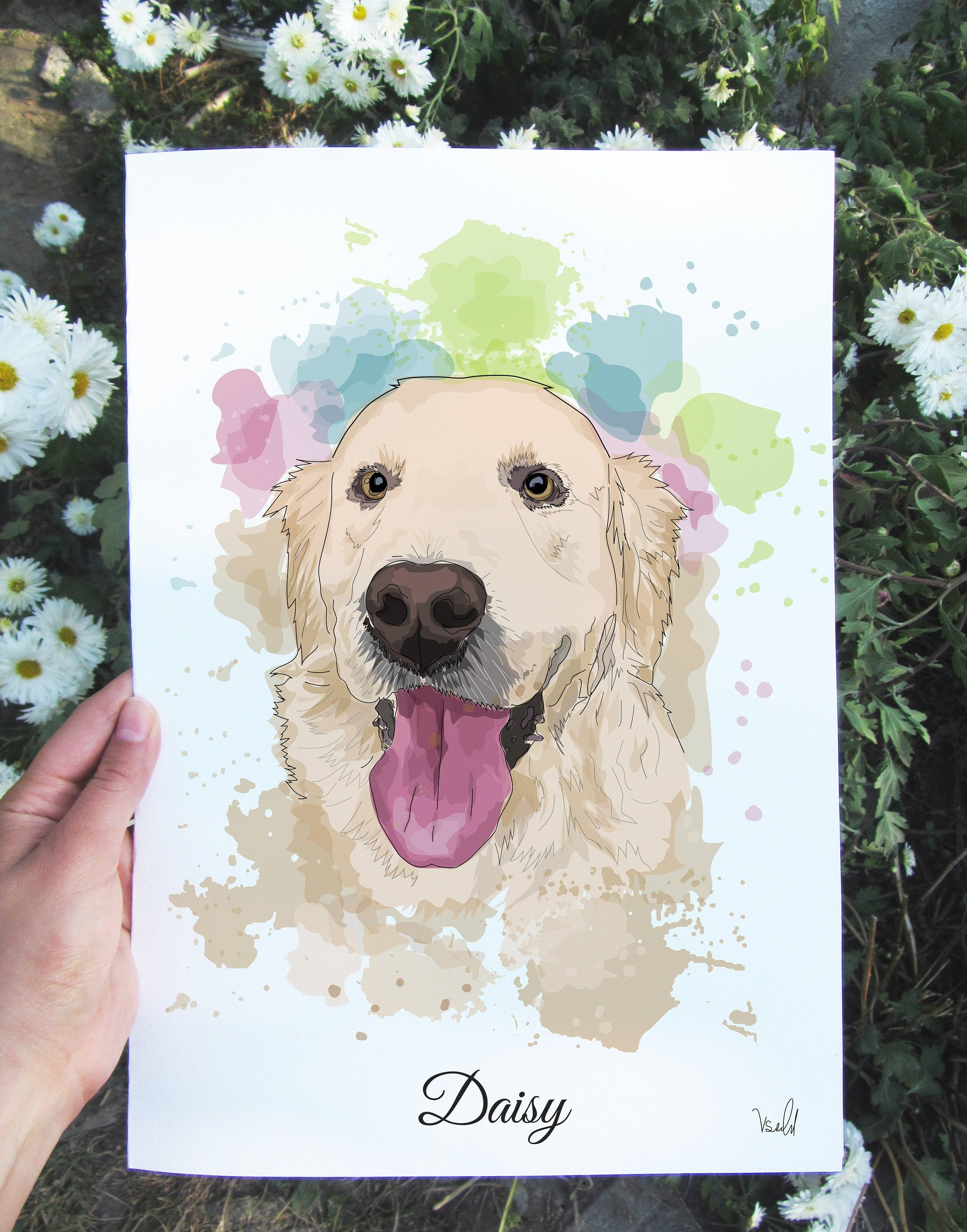 Custom Dog Portrait From Photo Custom Watercolor Pet Portrait