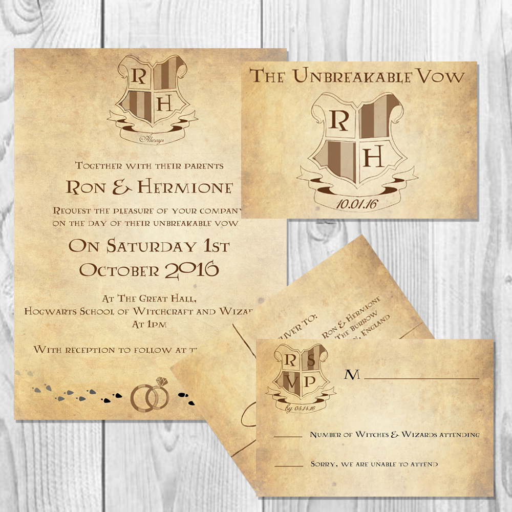 Harry Potter Inspired Wizarding Wedding Invitation Set Digital Harry Potter Wedding Invitations Harry Potter Wedding Harry Potter Wedding Theme