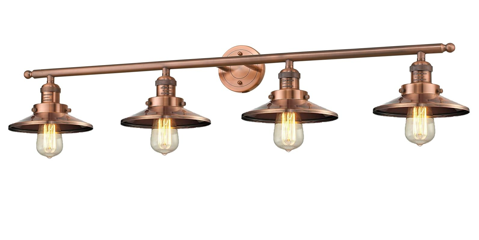 Photo of Innovations Lighting 215-AC-M3 Antique Copper Railroad 4 Light 42″ Wide Bathroom Vanity Light