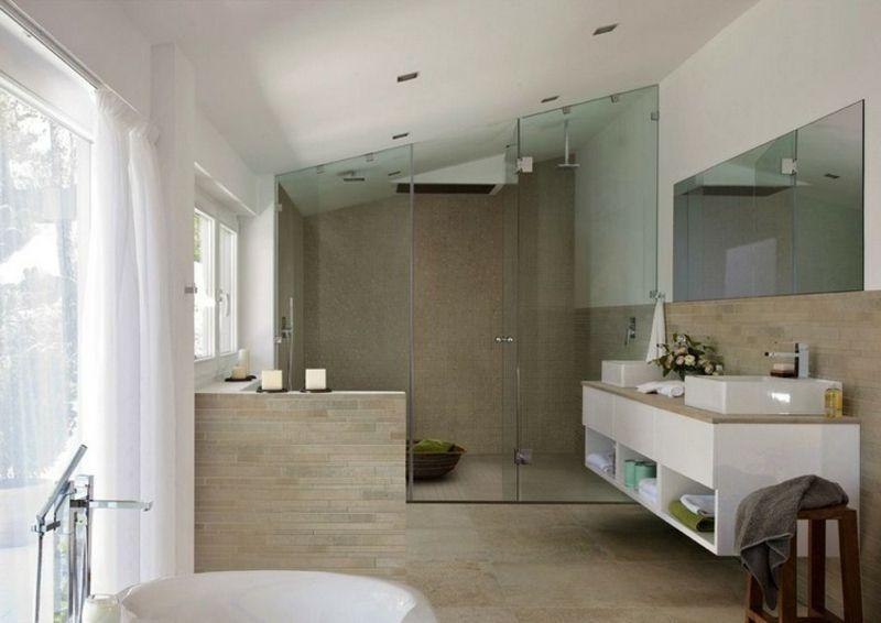 Moderne Badezimmer Fliesen Beige , Moderne Badezimmer – 40 Luxuriöse Einrichtungsideen