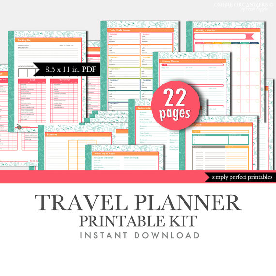 Travel Planner Printable Set Household by FreshPaperiePlanners \u003c3 - perpetual calendar template