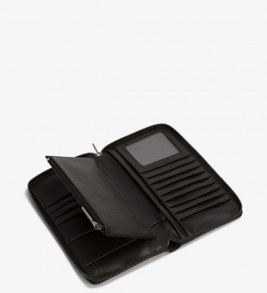 """14 card slots, 2 bill compartments, zipper coin pocket Dimensions: 8"""" x 3.25"""" x 1"""""""