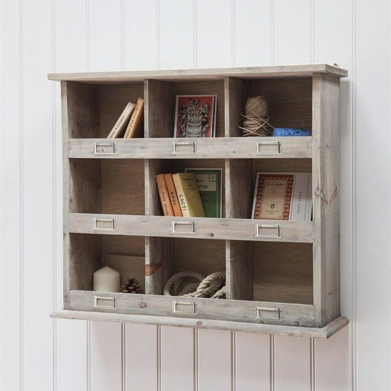 A Really Useful Storage Unit With Vintage Appeal Nine Spacious Cubby Holes Each With A Slot For Their Own L Wall Unit Wall Storage Unit Wooden Shelving Units