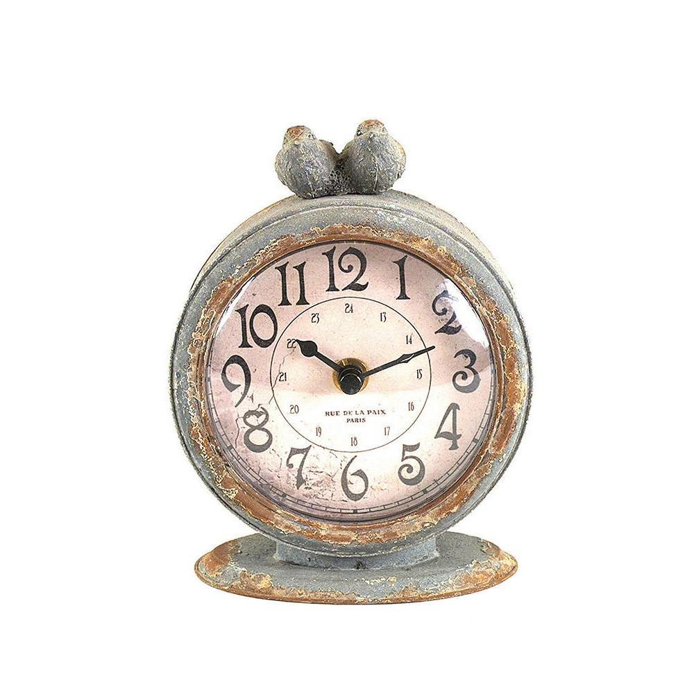 3r Studios Two Birds Round Table Clock Grey Metal Clock Mantle