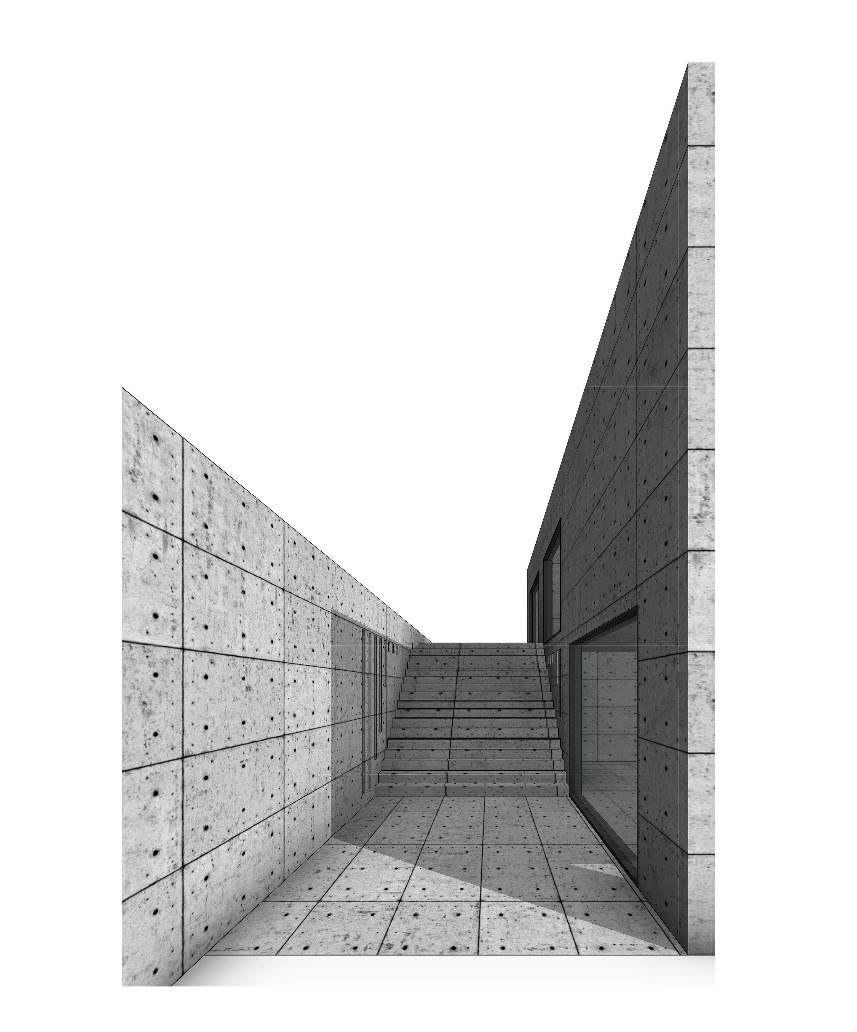 Koshino House Tadao Ando Revit Architecture Architecture Model Concrete Blocks