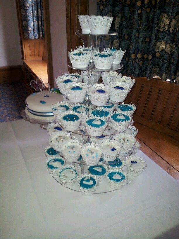 Zoes wedding cup cake tower