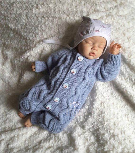 55afe9a04e1e Hand knitted blue romper Knitted baby clothes Baby boy romper ...