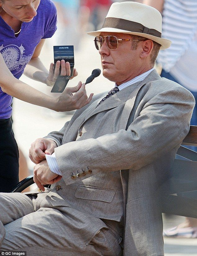 James Spader is dapper in three piece suit during filming Blacklist ... 6b9670a7eb9