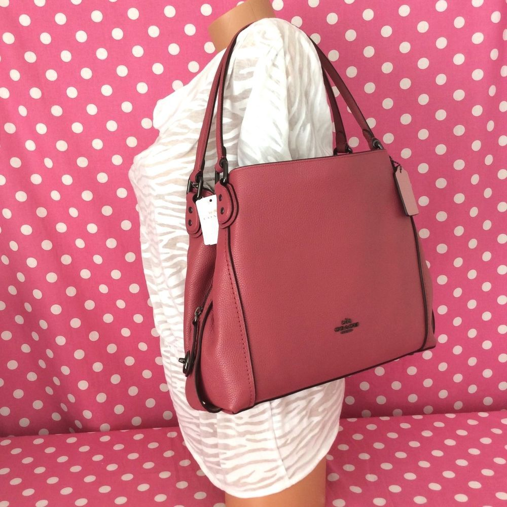 cbb93053401c ... canada new coach edie shoulder bag 31 pebble leather handbag 57125  rouge pink 350 nwt coach