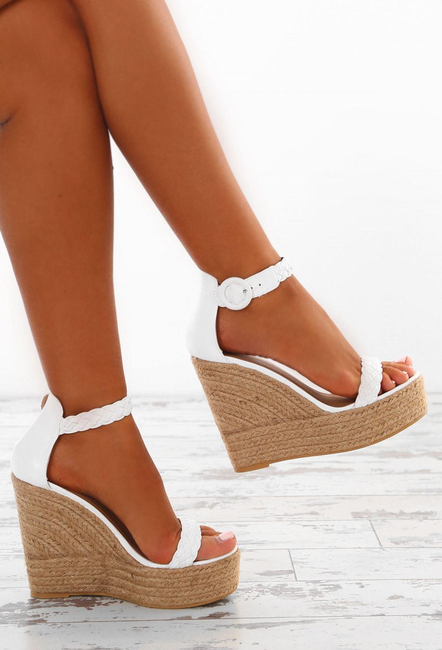 dbccf41bd Deepest Desire White Woven Platform Wedges - UK 3 | Shoes | Wedge ...